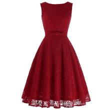 Belle Poque Sleeveless V-Back Lace A-Line Party Picnic Dress Women Summer Dress Short Red Lace Vintage Retro Dress BP000272-3