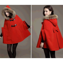 Winter Fashion Loose Bat Sleeve Women′s Cape Coat (50031)