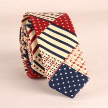 Laços feitos sob encomenda da bandeira dos EU do algodão da cópia dos homens perfeitos do nó do pescoço