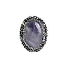 Bijoux en perles de pierres naturelles en pierre de 25 * 20mm pourpre