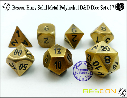 Bescon Brass Solid Metal Polyhedral D&D Dice Set of 7-4