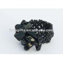 Piercing à l'obsidienne Stretch Seed Perles de verre Anneau