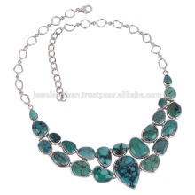 Tibetan Turquoise and 925 Silver Chunky Necklace