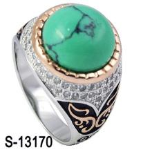 Nuevo modelo 925 de plata esterlina Micro ajuste hombres anillo turquesa con línea (S-13170)