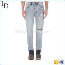 Pantalones vaqueros de cintura alta de mezclilla azul jeans estilo jogger pantalones para hombres