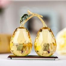 Elegante Ouro K9 Cristal Artesanato De Pêra para Decoração