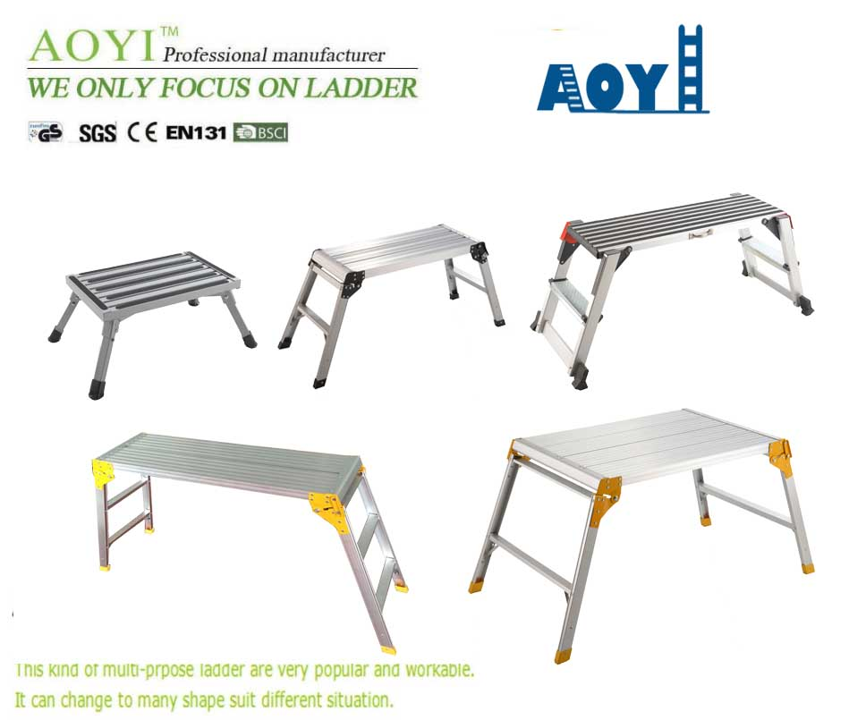 Aluminum work platform ladder