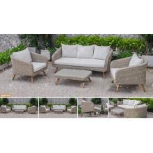 CANARY COLLECTION - 2017 El último diseño del sofá del PE de la rota de Poly con las piernas de madera de la acacia / de la teca para los muebles de jardín al aire libre