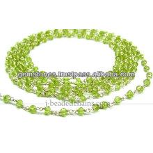Plata esterlina Paridot natural Rondelle moldeó la cadena, venta al por mayor Joyería de la piedra preciosa