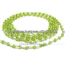 Sterling Silver Natural Paridot Rondelle Faceted Beaded Chain, Wholesale Gemstone Jewelry Supplier