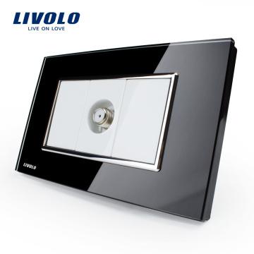 Manufacturer Livolo US Standard Power Socket Crystal Glass Satellite TV socket VL-C391ST-82