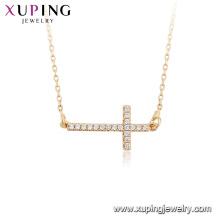 44814 Collar al por mayor de la religión de la joyería de la manera collar cruzado del color oro 18k con la llave