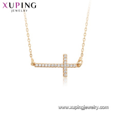 44814 Wholesale fashion jewelry religion necklace 18k gold color cross necklace with key