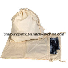 Custom 100% Natural Cotton Calico Cloth Laundry Bag with Drawstring