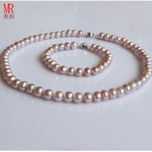 Conjunto de jóias de pérolas de água doce lavanda de 7-8 milímetros