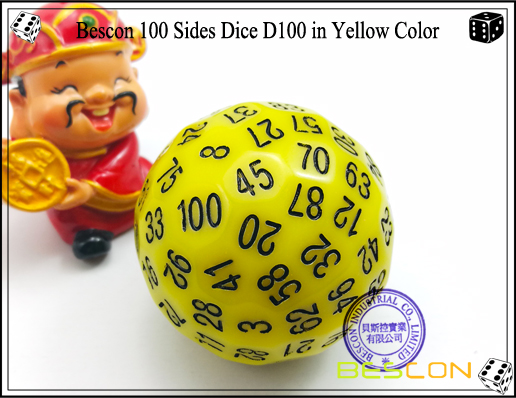 Bescon 100 Sides Dice D100 in Yellow Color-1