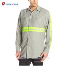 Vente chaude 65% Polyester 35% Coton Manches Longues Marine / Gris Sécurité Réfléchissante Haute visibilité Visibilité Bouton Chemises pour L'industrie Porter