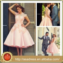 SMA54 Best Design Tea Length Dubai Appliqued Colored Reception Pink High Collar Short Wedding Dress 2015