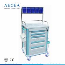 AG-AT005B1 Cajón de material plástico ABS con ruedas Carro de anestesia médica