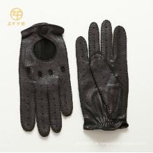 Männer top grade Art und Weise schwarze Farbe deerskin Motorradlederhandschuhe
