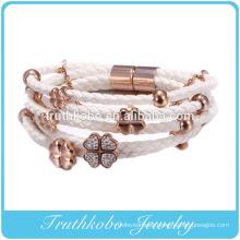 New design rose gold high imitation diamond Four-leaf clover bracelet rope leather bracelet