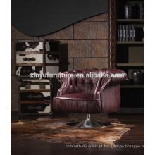 Chaise francesa clássica clássica de couro real A609