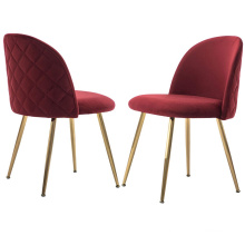 Modern fancy curved backrest red velvet dining chair without arms gold stainless steel frame