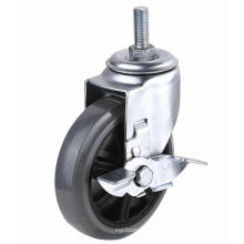 EG01 Threaded Stem PU Caster With Side Brake(Gray)