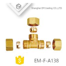 EM-F-A138 3 vías de rosca macho con conexión de tubería de latón con conector rápido doble