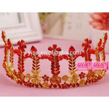 Goddie de casamento de folhas de cristal vermelho tiara de noiva