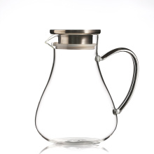 Handmade mouthbown glass pitcher with lid and OEM glass water carafe