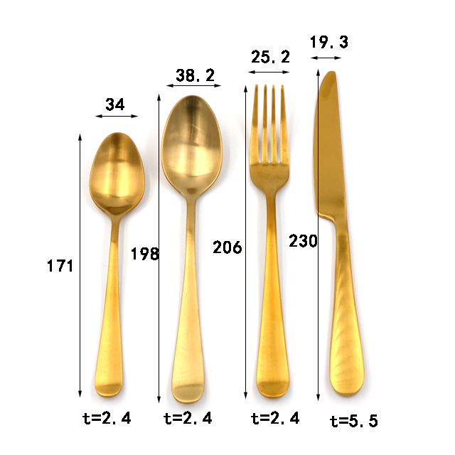 Food Grade 16-pieces Golden Color SS Flatware set