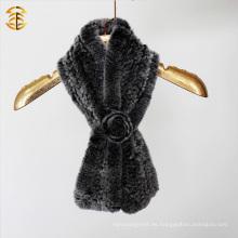 Rex conejo hecho punto piel bufanda invierno piel bufanda mano tejida piel bufanda