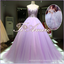 Royal Modern Luxury Beaded Sequins Big Ball Gown Sexy A-Line Andar de comprimento Sweep Train Wedding Dress 2016
