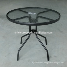 Outdoor metal garden table with glass top
