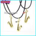 Wholesale Metal Alloy Gold Saxophone Charm Necklace