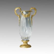 Estatua de cristal jarrón doble maneja la escultura de bronce Tpgp-002 (j)