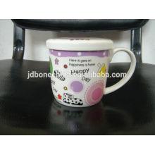 Una casa de la oficina de grado de viaje multa de hueso real de cerámica china tazas de café con tapa al por mayor