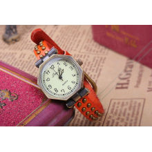 Relógios de couro vermelho da faixa para as mulheres KSQN-10