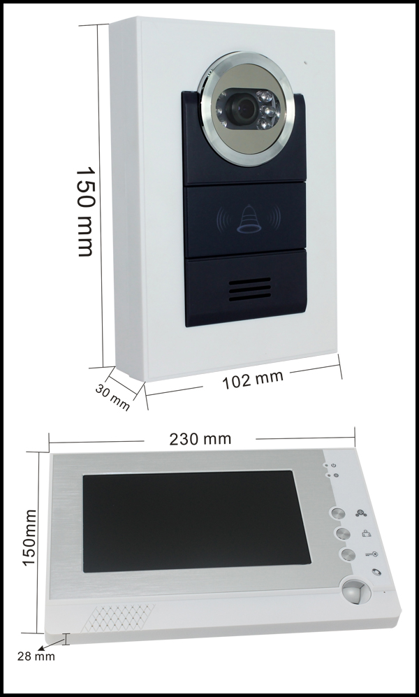 Wire video door phone size