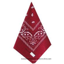 OEM Produce Customized Red Paisley Printed Cotton Bandana Big Handkerchief
