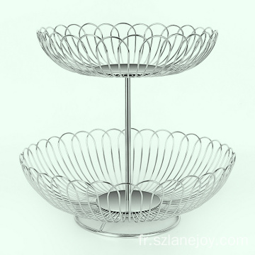 New design 2 tier stainless steel metal fruit hanging basket decor