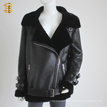 Veste de fourrure de mouton véritable de nouvelle marque pour Lady Posh Style Manteau de fourrure en peau d'agneau