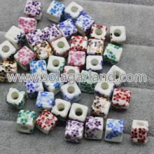 10MM Cube Charms Flower Patterns Ceramic Loose Spacer Beads