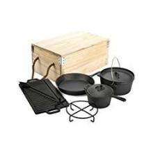 Camping Cast Iron Pre-Seasoned Cookware Sets with Wooden Box