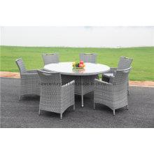 Открытый сад ротанга плетеная большой круглый обеденный стол и стул