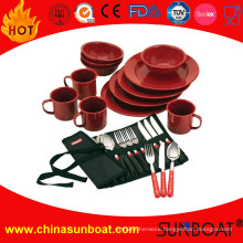 Kitchen Implement Dinnerware Enamel Dish Set with Cutlery and Mug