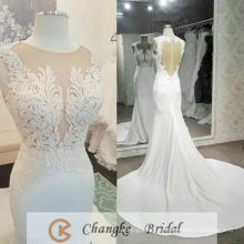 High Quality Off White Wedding Dress Bridal Applique Pattern See Through Custom Made Factory