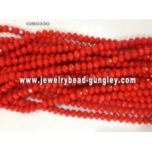 opaque roundel glass bead-red