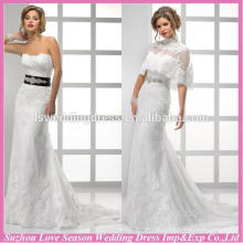 WD1207 New design detachable lace jacket removable crystals belt nature waist lace up low price chic bridal dresses lace